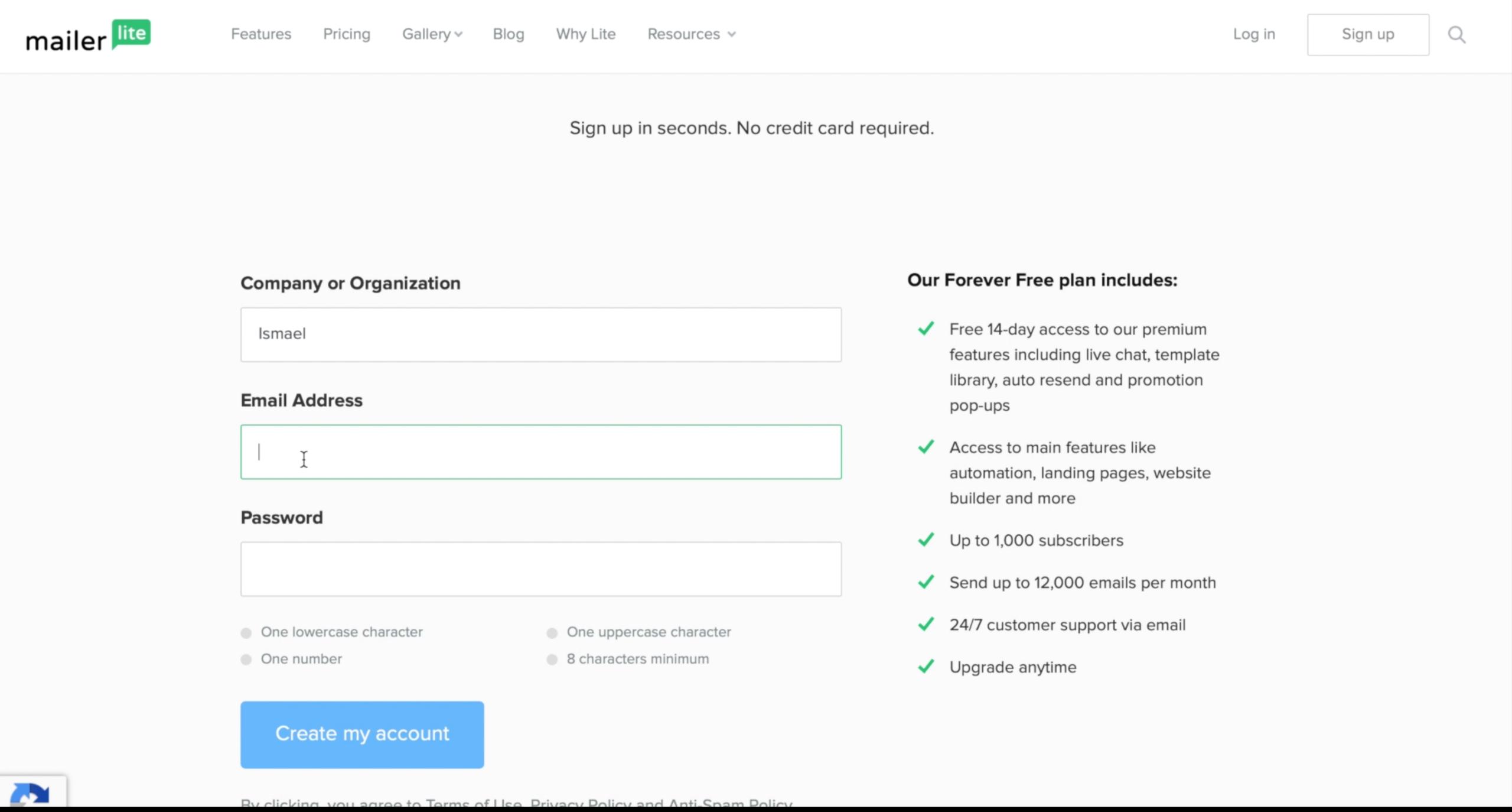 Jak założyć konto wmailerlite - pola dowpisania nazwy firmy, maila ihasła
