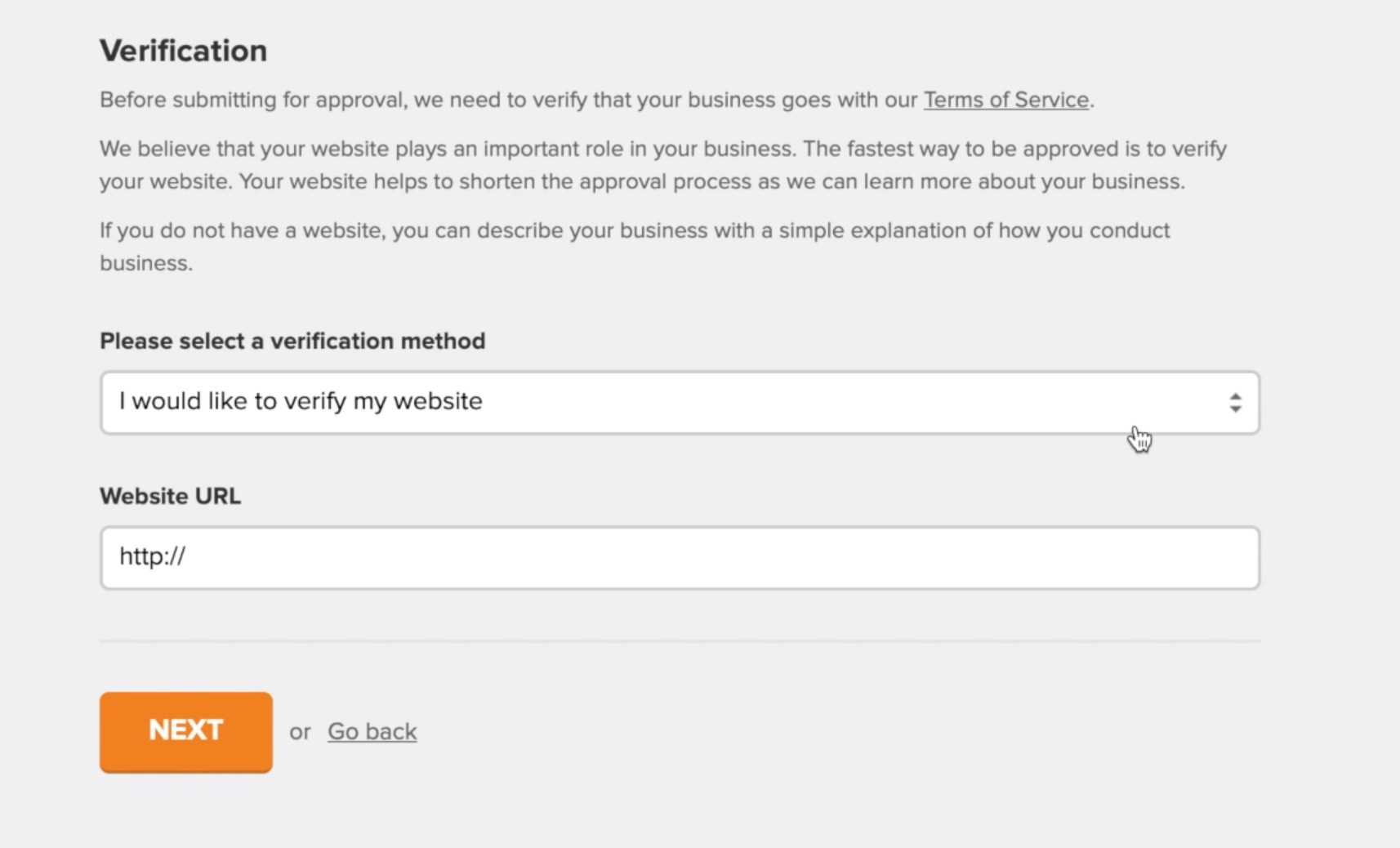 pole doweryfikacji strony internetowej