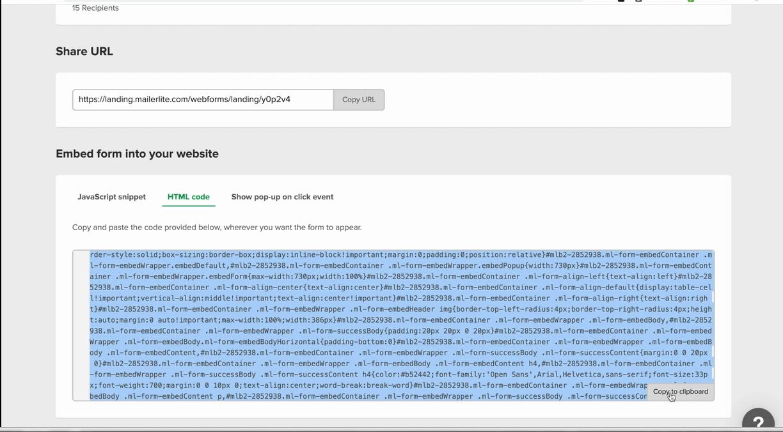 skopiuj kod HTML formularza doosadzenia